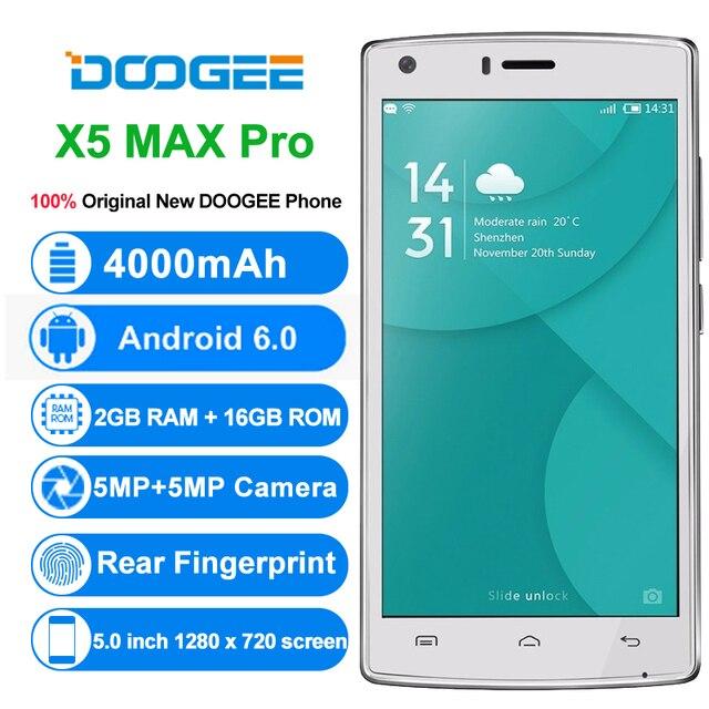 Оригинал DOOGEE X5 Max Pro MTK6737 Quad Core смартфон 5.0 дюймов Android 6.0 мобильный телефон 2 ГБ Оперативная память 16 ГБ Встроенная память 4000 мАч 4 г сотовый телефон