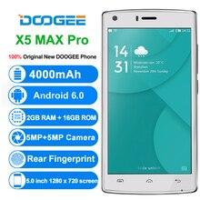Оригинал DOOGEE X5 Max Pro MTK6737 Quad Core смартфон 5.0 дюймов Android 6.0 мобильный телефон 2 ГБ оперативной памяти 16 ГБ ROM 4000 мАч 4 г сотовый телефон