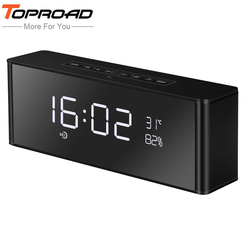 TOPROAD HIFI Portable Wireless Bluetooth Speaker Stereo Speakers Soundbar TF FM Alarm Clock Subwoofer Column for Computer Phone