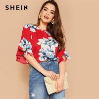 83269de5b51 SHEIN Bohemian Plus Size Flounce Sleeve Floral Print Blouse Women 2019  Spring Round Neck Short Sleeve