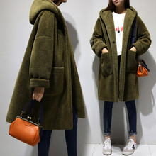 Lamb Wool Coat Women Cocoon Winter Jacket Women Loose Hooded Woolen Coat Thick Long Parka Army Green Coats Abrigos Mujer C2810(China)