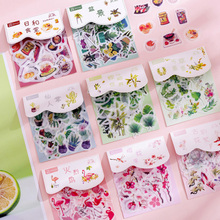 40pcs/pack Beautiful Plant Series Pack School Supply Eight Style Selections Decorative Stickers Adhesive