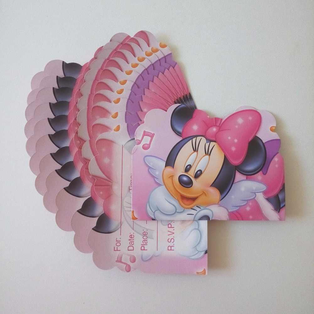12 Unids Set Tarjeta De Invitación Minnie Mouse Fiesta Temática De Dibujos Animados Para Decoración De Cumpleaños De Niños Suministros Para Fiesta