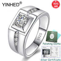 Sent Silver Certificate! YINHED 100% 925 Sterling Silver Ring 6mm Round Cubic Zircon Wedding Rings for Men Luxury Jewelry ZR563