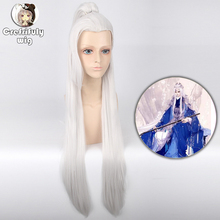 цена на 110cm Eternal Love Straight Long White Cosplay Wig With One Claw Ponytail Synthetic Hair Halloween Costume Wigs For Men Women