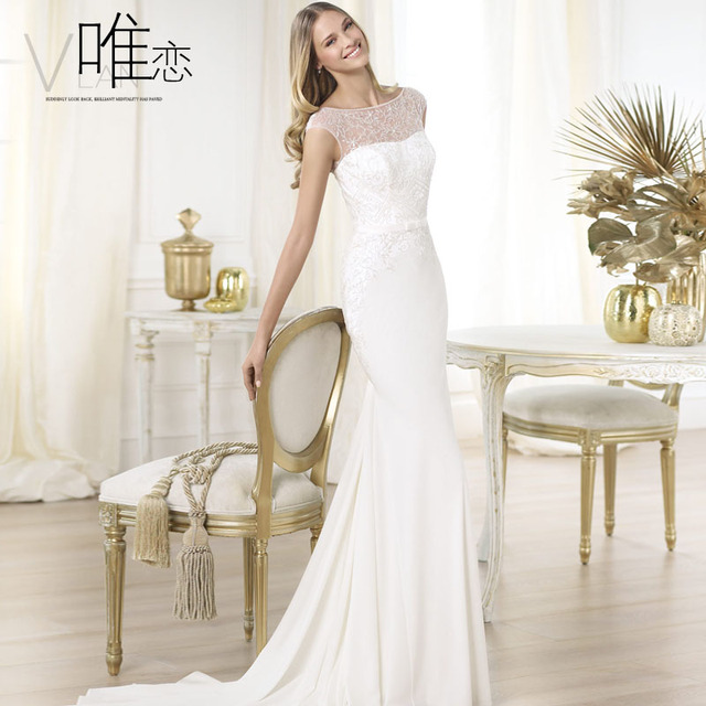 Bride Slim Train Silk Chiffon Wedding Dress Paillette White Fish