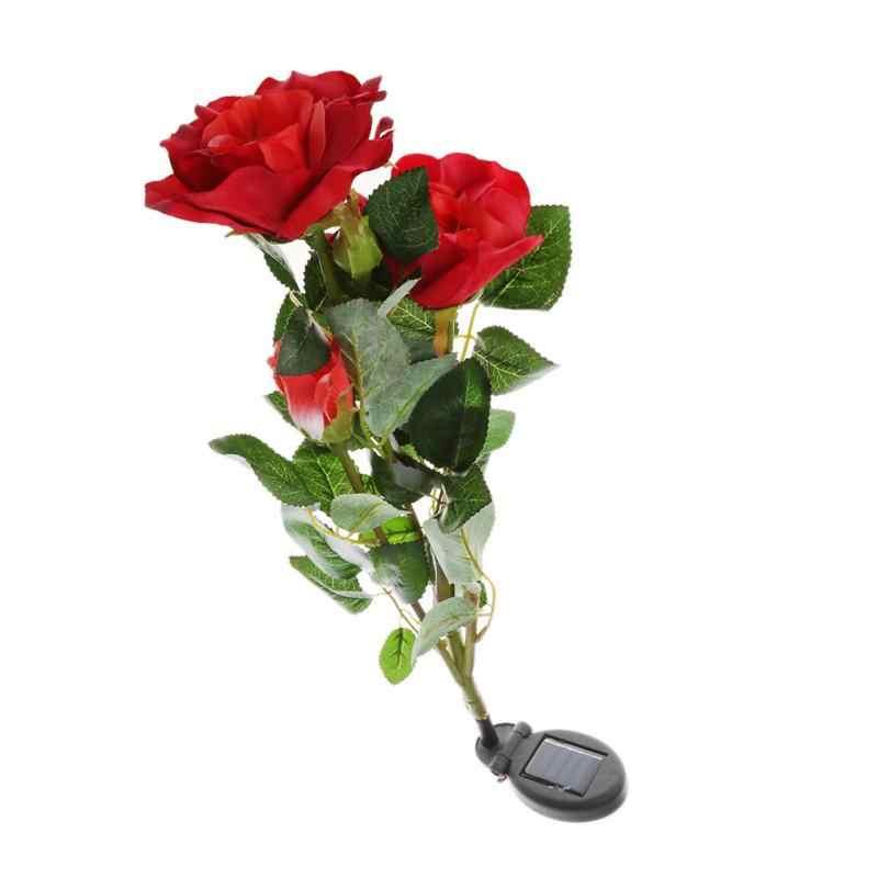 Лужайка украшение цветок освещение Специальной формы лампы солнечной энергии лилии розы цветок сад Кол пейзаж лампа открытый двора светодиодный свет