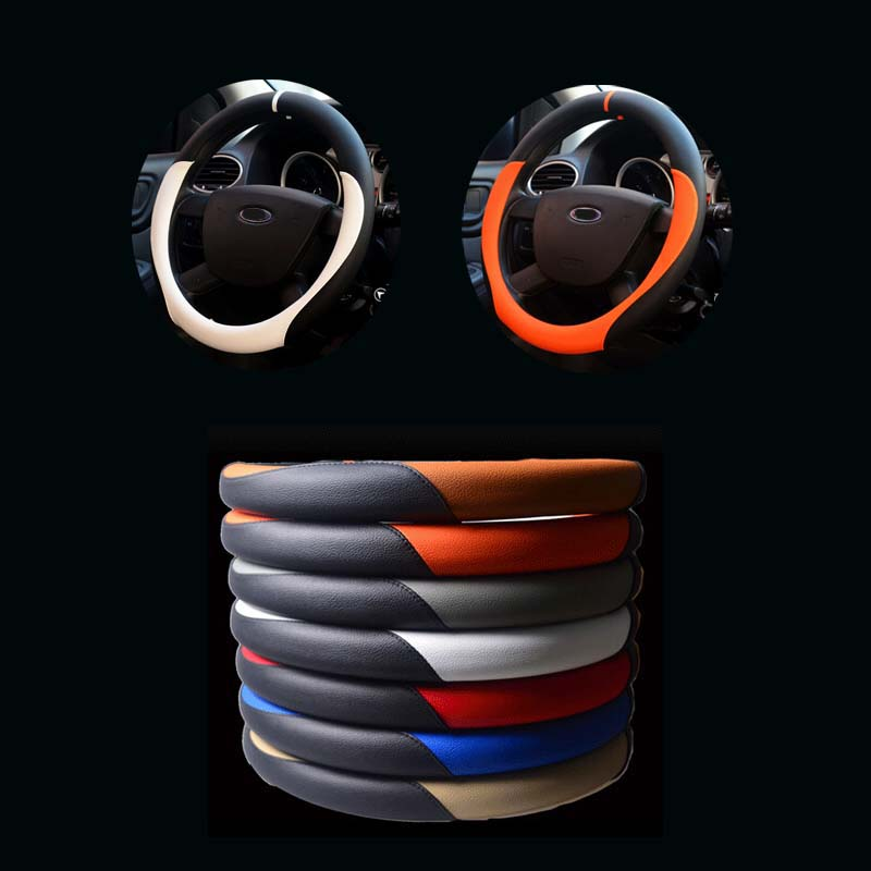 microfiber leather cover on the steering wheel of the car braid case steering wheel cover 38