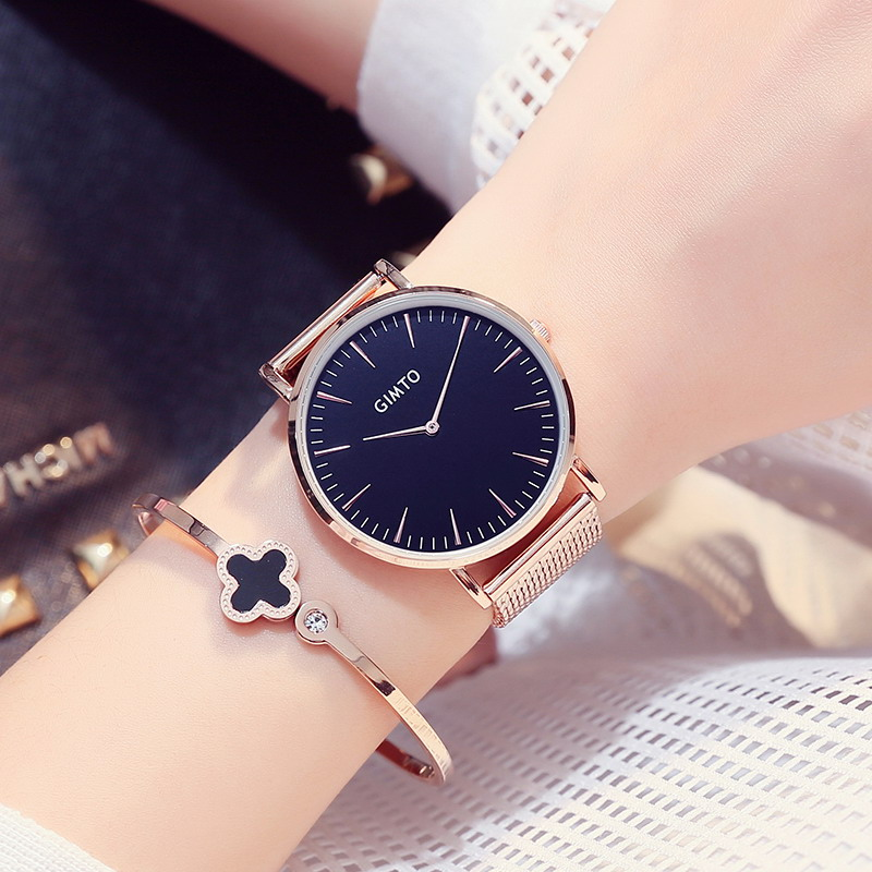 2017 NEW GIMTO Brand Luxury Women Watches Steel Business Quartz Ladies Watch Clock Fashion Dress Gold Bracelet Lovers Wristwatch 2016 luxury brand ladies quartz fashion new geneva watches women dress wristwatches rose gold bracelet watch free shipping