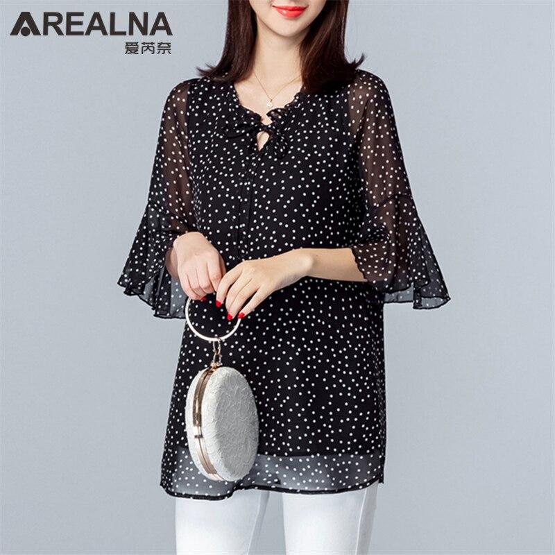 46d9379c96e Винтаж плюс Размеры 5XL Для женщин s Топы и блузки лето в горошек шифоновая  блуза с рюшами женский