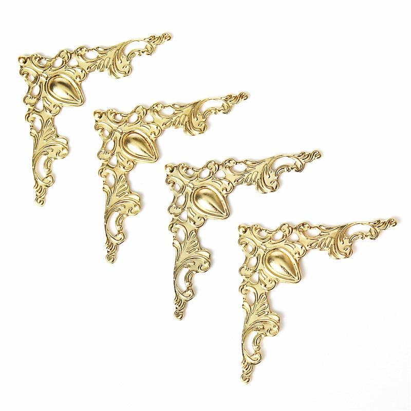 12pcs iron jewelry box gift wine case book scrapbook album corner decorative protector gold silver bronze - Decorative Hinges