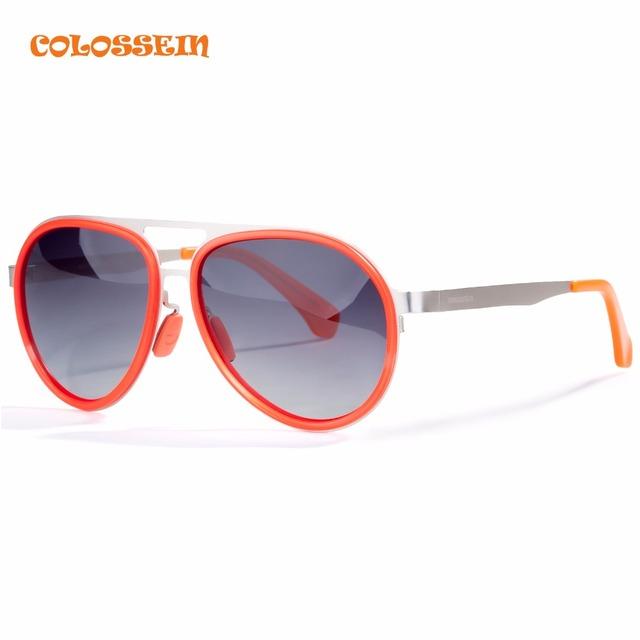 Colossein orange label moda confortável personalidade quadro lente polarizada óculos de sol das mulheres oval vermelho venda quente adulto eyewear