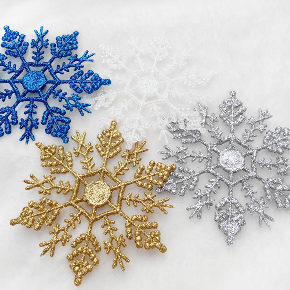 Christmas snowflake ornaments - 6pcs Pack Plastic Glitter Snowflakes Ornaments For Xmas Christmas Tree Window Party Home Decoration 0012a