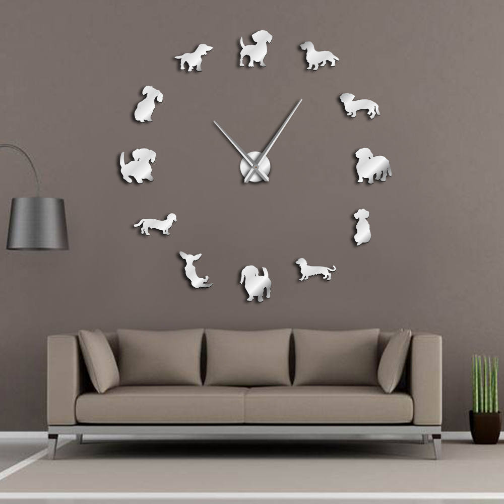 Various Dog Breeds 3D DIY Giant Wall Clock Pet Shop Wall Art Puppy Dog Types Decorative Clock Watch Eco Friendly Gift Pet Lovers