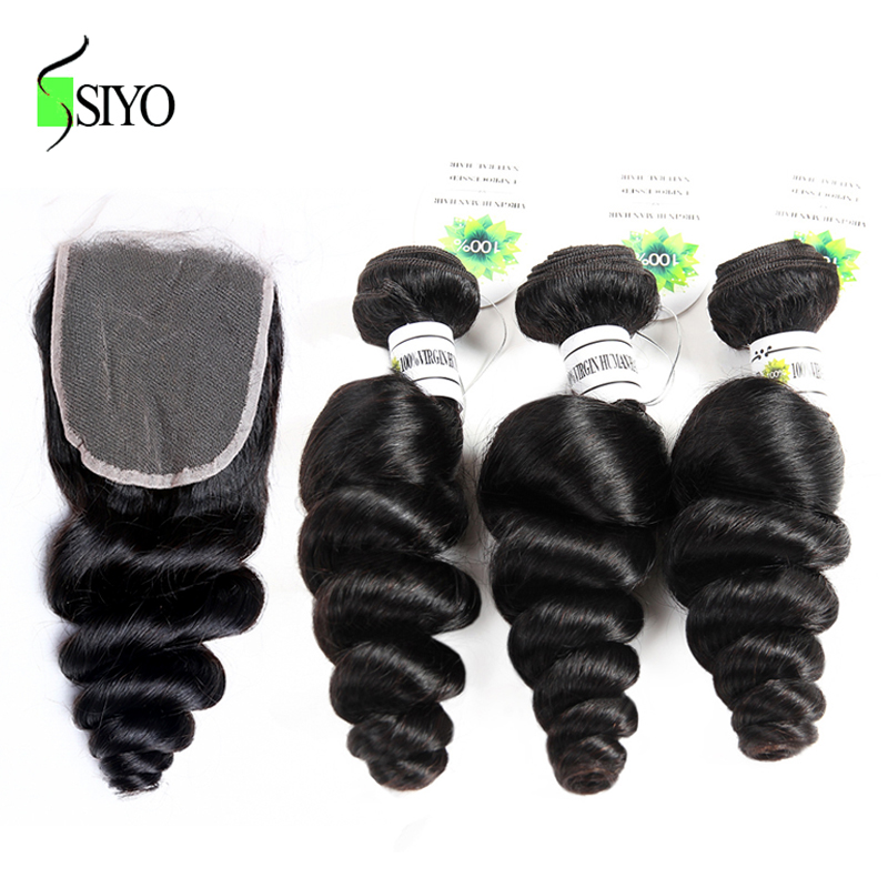 "SIYO Brazilian Loose Wave 8-26"" M 3 Bundles With Closure Non Remy Human Hair 3pcs With 4X4 Lace Closure"