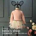 2016 new autumn girl child super Korea smell small pompon knit dress sweater dress free shipping