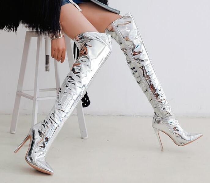 Carpaton 2019 Newest Sexy High Heel Boots Pointed Toe 12 CM Thin Heels Over the Knee Boots Night Club Wearing Thigh High Boots Carpaton 2019 Newest Sexy High Heel Boots Pointed Toe 12 CM Thin Heels Over the Knee Boots Night Club Wearing Thigh High Boots