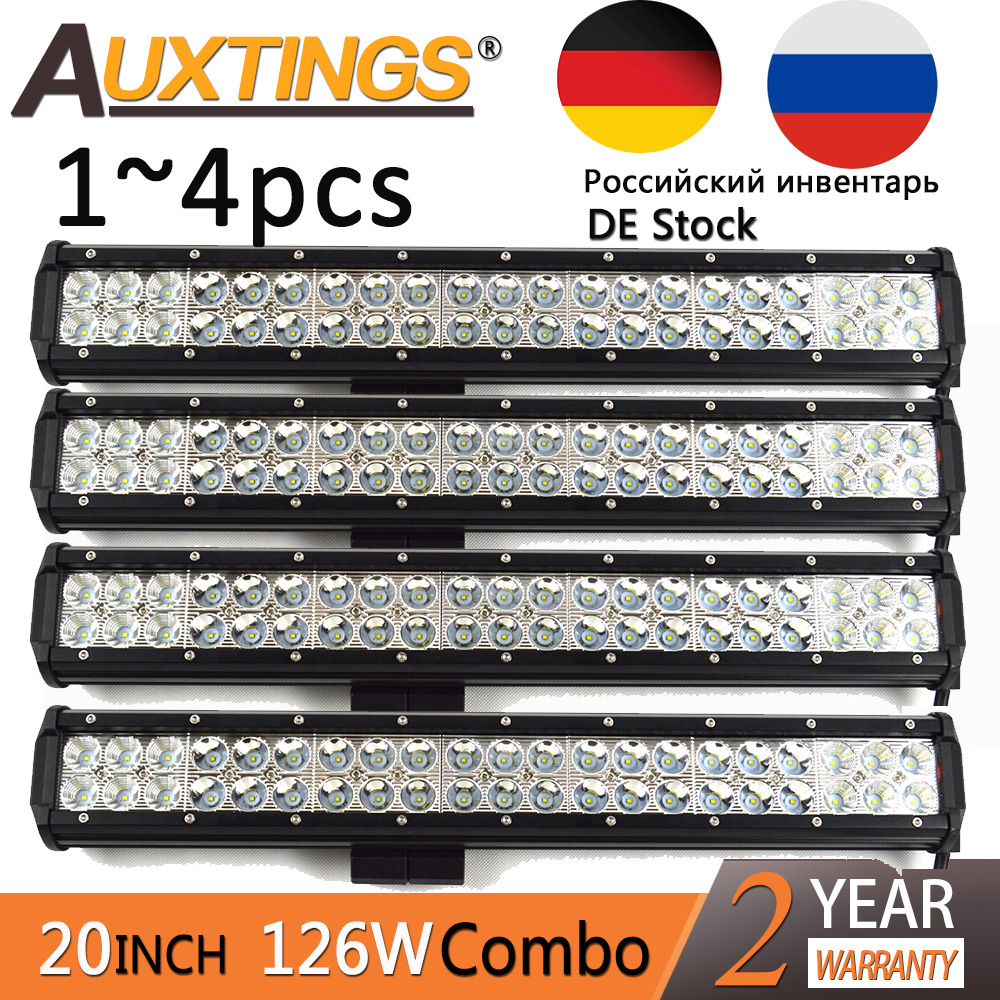 Auxtings 20'' 1~4pcs wholesale 20inch 126w led light bar 12V double rows 4x4 truck work light bar offroad led light bar 12v amber white led offroad bar gdcreestar selling 20inch 12v led offroad bar kr9016 90 90w 12v led driving work bar lights
