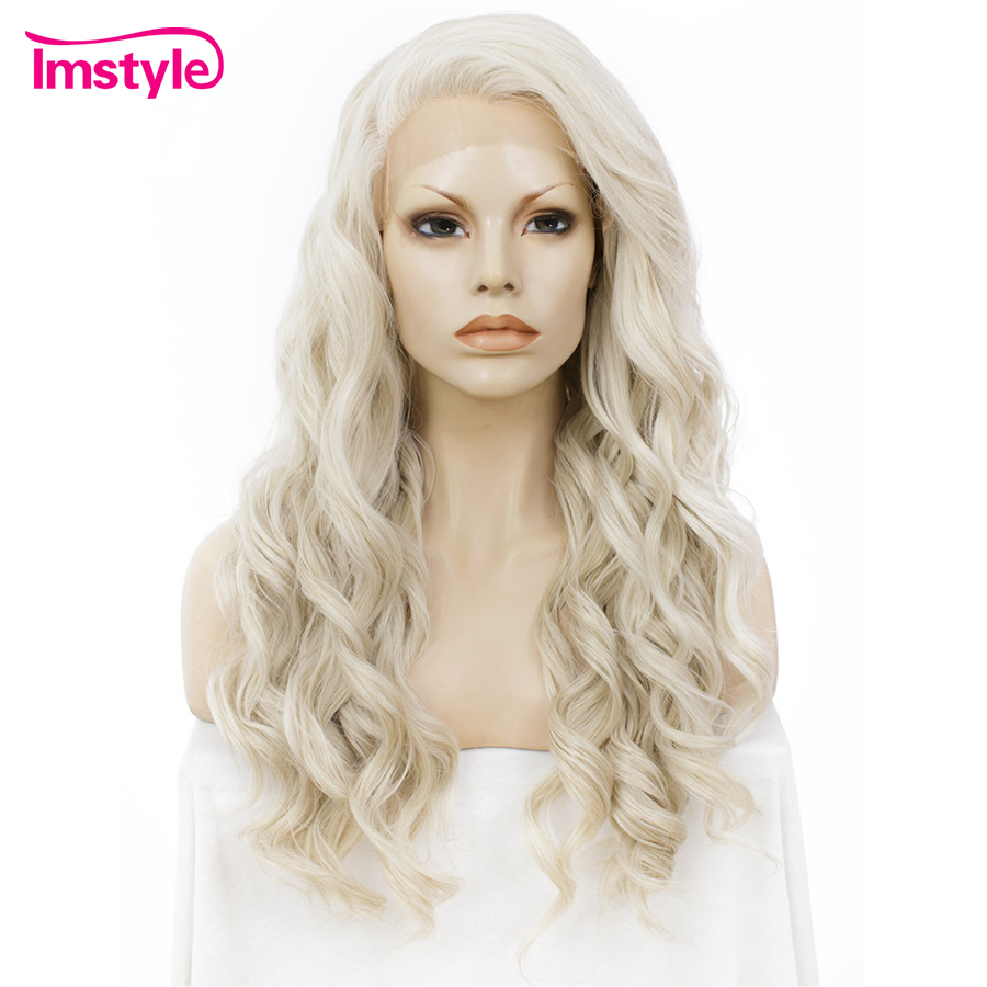 Imstyle Ash Blonde Lace Front Wigs For Women Synthetic Hair Wig Long Wavy Cosplay Wigs Heat