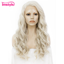 Imstyle Wavy Synthetic honey ash Blonde 24 lace front wig should length dark root ash blonde lace front wig synthetic