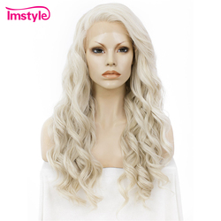 Imstyle Ash Blonde Lace Front Wigs For Women Synthetic Hair Wig <font><b>Long</b></font> Wavy Cosplay Wigs Heat Resistant Fiber Glueless 24 Inches