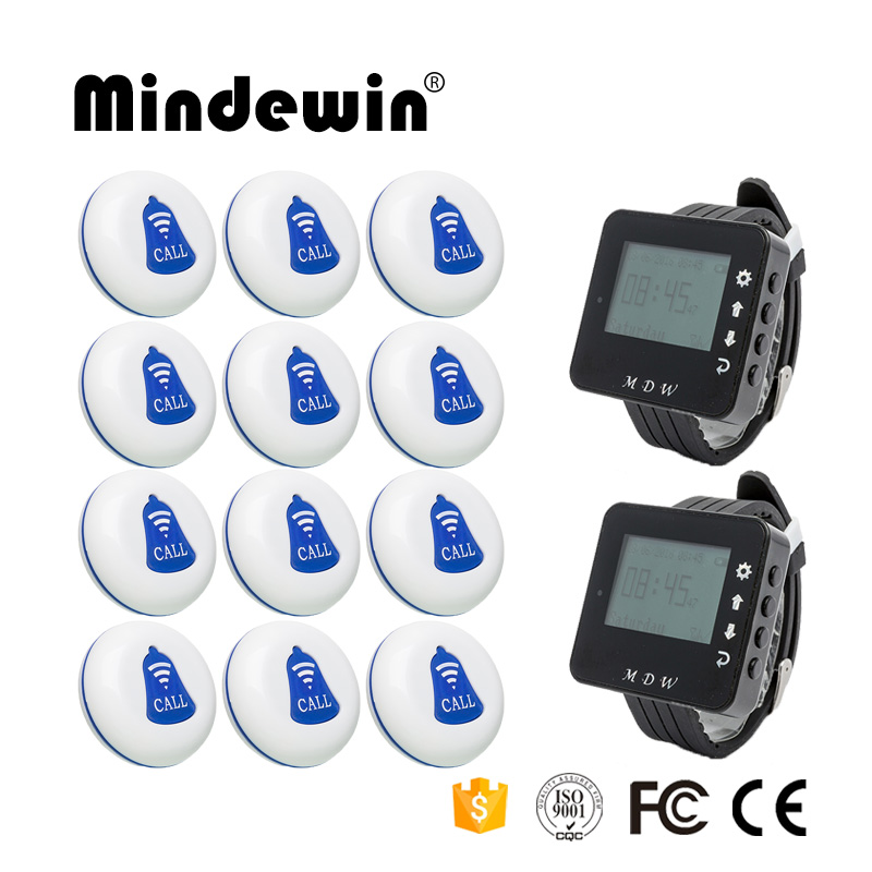 Mindewin Wireless Calling System for Restaurant Waiter Pager 12PCS Table Call Buttons M-K-1 and 2PCS Wrist Watch Pager M-W-1 wireless bell button for table service and pager display receiver showing call number for simple queue wireless call system