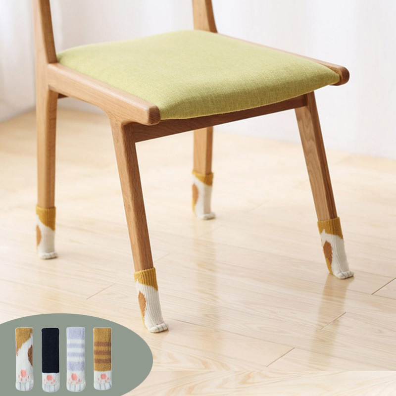 4 Pcs Set Knitted Dining Table Chair Leg Socks Protective