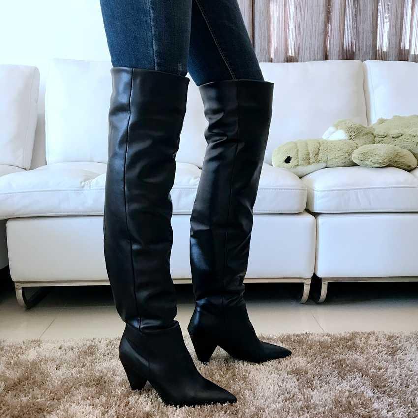 ผู้หญิงขาสูงบู๊ทส์รถจักรยานยนต์สีดำหนังรองเท้าหิมะ Faux ขนฤดูหนาวรองเท้าผู้หญิงรองเท้าส้นสูงรองเท้าผู้หญิงเหนือเข่ารองเท้า