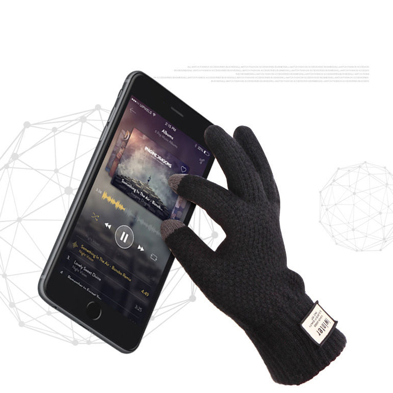 Men Cashmere Knitted Gloves Thick Warm Patchwork TouchScreen Glove Mittens 2018 Autumn Winter Male Fitness Workout Glove Mitaine