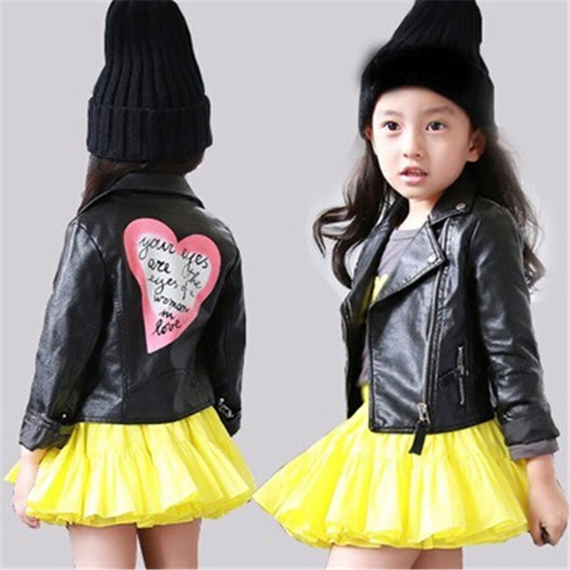 Toddler girls leather jacket