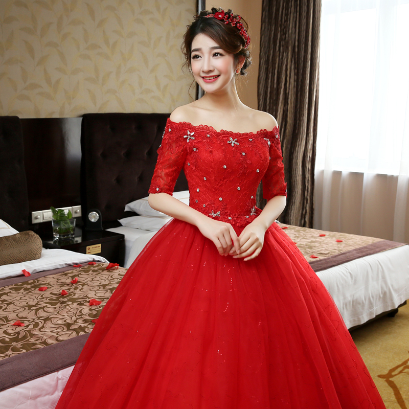 Free Shipping Sequins Boat Neck Half Sleeves Wedding Dresses ...