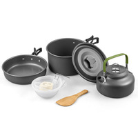 Outdoor Cookware Camping Tableware Pot Picnic Canteen Survival Hiking Military Boiler Frying Teapot Set Kettle cutlery