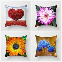 Fuwatacchi Flower Pillow Case Home Decor Printed Cushion Cover Fresh Wildflowers Throw Pillowcase Decorative Pillows