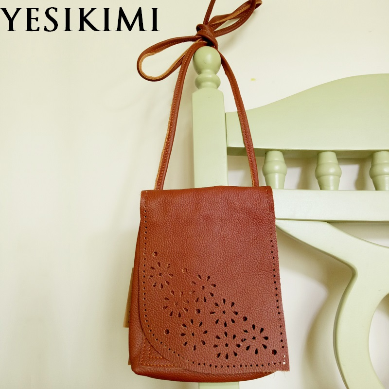 2017 New Handmade Soft Genuine Cow Leather Womens Bag Brown Color Hollow Out Vintage Leaf Shape Cover Small Messenger Bags
