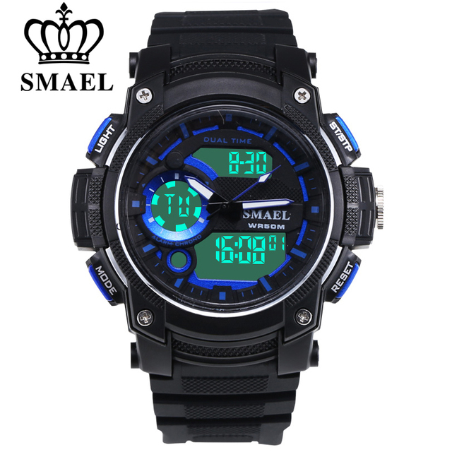 SMAEL Men's Outdoor Sports Leisure LED Digital Electronic Double Display Multiple Time Zones Wristwatch Men Quartz Gift Watches