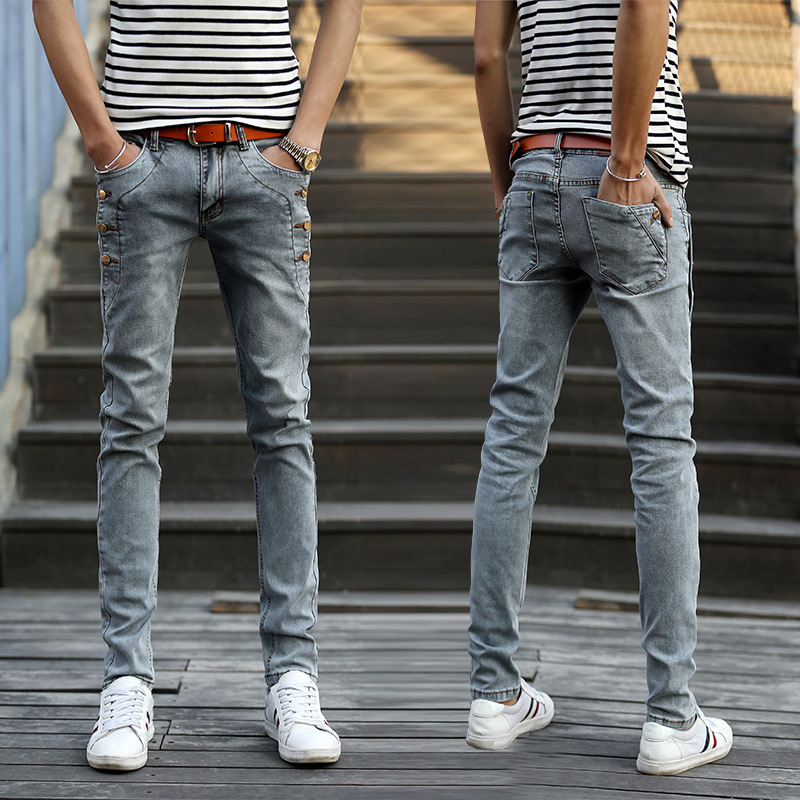 Preppy Style Spring 2019 Mens  Denim Skinny Jeans Solid With Button