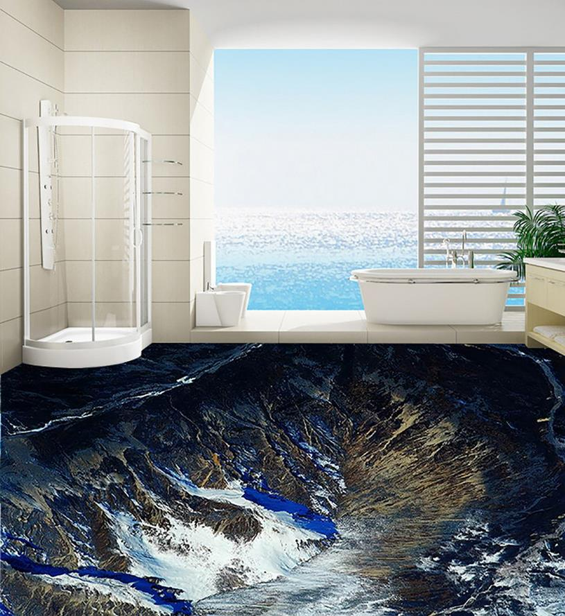 Mountain waterproof floor mural painting custom photo for Custom photo mural