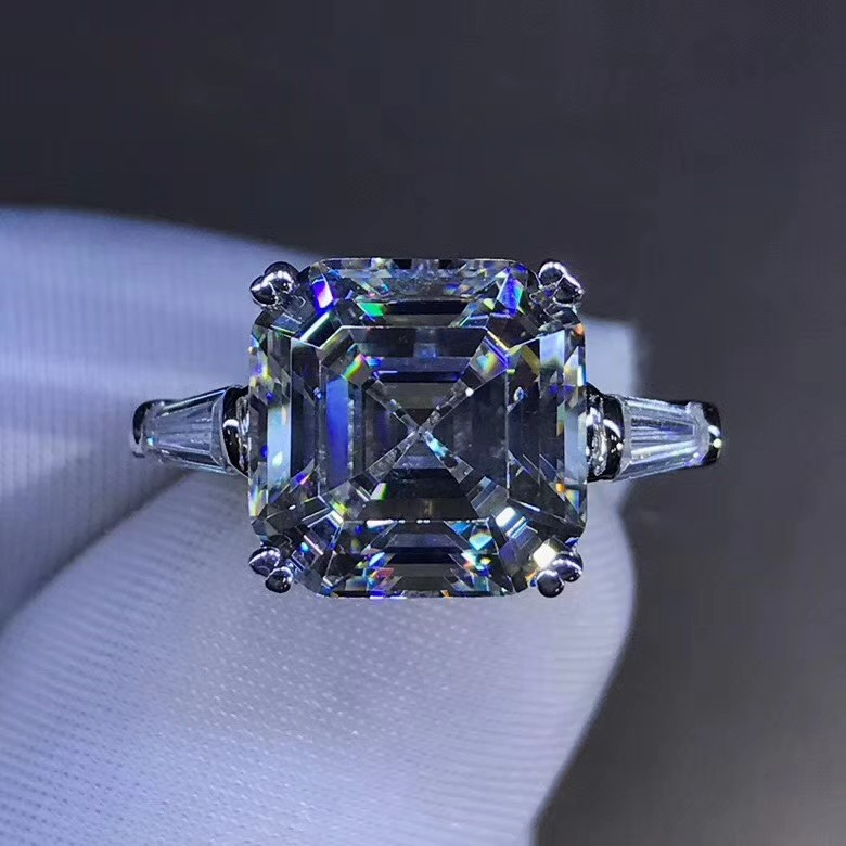Handmade Promise Ring 925 Sterling Silver Asscher Cut 6ct Sona Cz Engagement Wedding Band Rings For Women Statement Jewelry