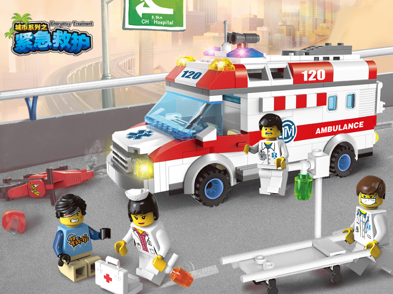 1118 Ambulance Nurse Doctor First Aid Stretcher Bricks Toys Minifigure Building Block sets brinquedos compatiable with lego