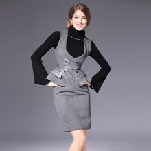 2016 Winter Women's Suits Turtleneck Sweaters + Trumpet Sleeve In Lotus Leaves Two Piece Set Costumes for Women with A Skirt