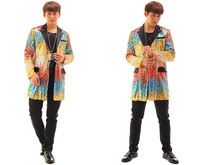 New Fashion Colorful Sequins Long Jacket Blazer Nightclub Bar Stage Show Male Singer Dancer Performance Costumes Coat