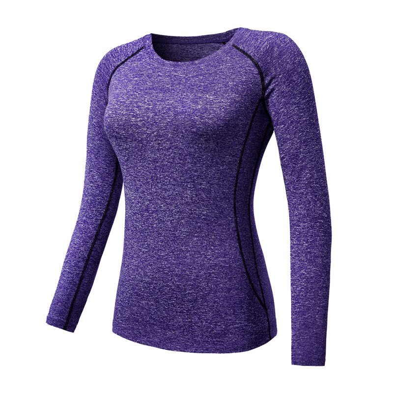 Women Long Sleeve Sports Compression T-Shirt Quick-Dry Gym Yoga Running Tops Tee 10