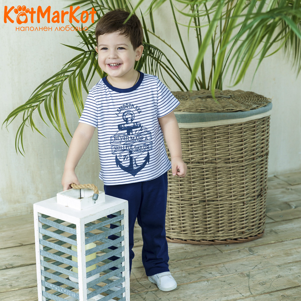 Pajama Sets Kotmarkot 16556 children's pajamas for boys and girls sleep t-shirt and shorts pajama pants Cotton Boys shein kiddie toddler girls letter print jumpsuit and floral print pants and headband long sleeve casual suit for girl sets