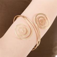 Filigree Swirl Gypsy Boho Armband Upper Arm Bangle Cuff Bracelet Spiral Armlet Circle For Women Girls Dance Jewelry