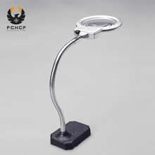 FGHGF 2.5x 5x 100mm Clip-on Table Big Magnifying Glass LED Lamp Illuminated Magnifer Light Reading Lens Magnifier