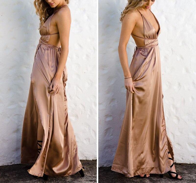 HTB1tc.KNFXXXXc aXXXq6xXFXXXF - Off Shoulder Sexy Deep V Neck Beach Style Women Dress Strap Backless Maxi Long Evening Party Dresses JKP028