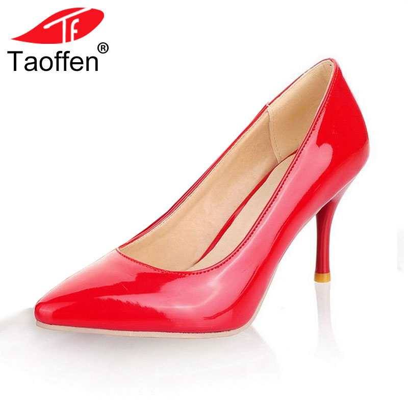 TAOFFEN size 30-47 women high heel shoes office ladies women shallow party sexy pumps fashion footwear heels shoes P23518 taoffen women high heels shoes women thin heeled pumps round toe shoes women platform weeding party sexy footwear size 34 39