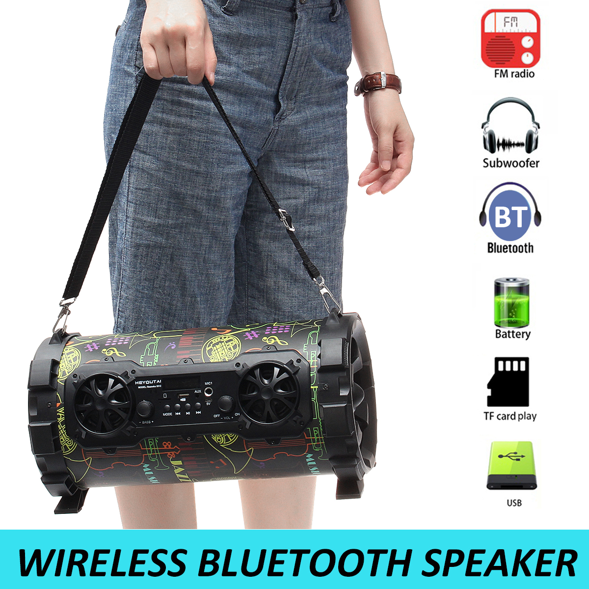 Portable Outdoor Speaker 25W Wireless Bluetooth V4.1 Speaker Loudspeaker Sound System AUX/USB/TF Card/Radio FM Player Music 4 2 bluetooth speaker hi fi portable wireless box mp3 music player receiver audio fm radio with usb aux tf card boombox column