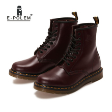 Anti-Season Clearance Sale Red Ankle Boots Genuine Leather 100% Cowhide Autumn Winter Lace-Up Unisex Motorcycle