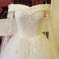 Romantic Boat Neck vestido de Bola Vestido de Novia 2017 Vestidos de Novia Abalorios de Cristal de Flores de Encaje Blanco Largo Vestido de Novia de Lujo Estilo
